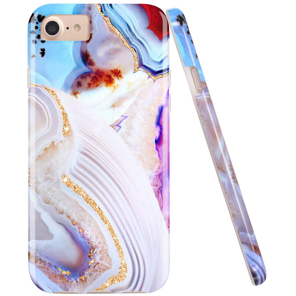 JIAXIUFEN Gold Sparkle Glitter Purple Marble Desgin Slim Shockproof Flexible Bumper TPU Soft Case Rubber Silicone Cover Phone Case for iPhone 7 / iPhone 8 / iPhone 6 6S