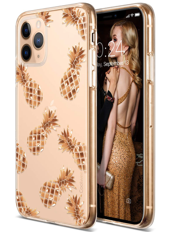 Coolwee iPhone 11 Pro Case Rose Gold Pineapple Floral Case for Women Girl Men Foil Clear Design Shiny Glitter Hard Back Case with Soft TPU Bumper Cover for Apple iPhone 11 Pro 5.8 inch 2019 Pineapple