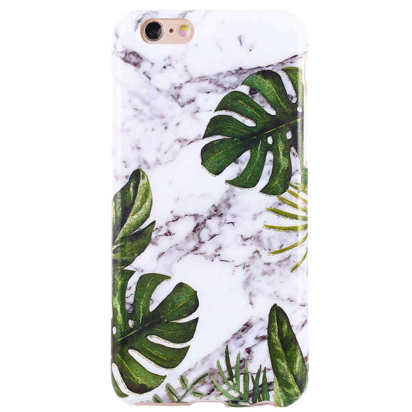 DICHEER iPhone 6 Case,iPhone 6s Case,Cute Palm Leaves Grey Marble for Women Girls Slim Fit Thin Clear Bumper Glossy TPU Soft Rubber Silicon Cover Protective Phone Case for iPhone 6/iPhone 6s
