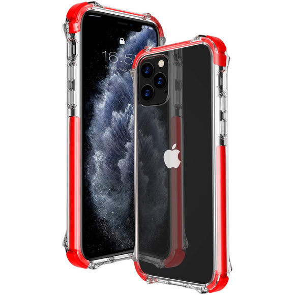 MATEPROX iPhone 11 Pro Case Clear Heavy Duty Protective Crystal Back Cover with Shockproof Bumper Case for iPhone 11Pro 5.8 (Red)
