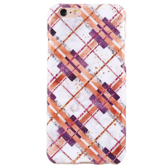 DICHEER iPhone 6 Case,iPhone 6s Case,Cute Grids Marble for Women Girls Slim Fit Thin Clear Bumper Glossy TPU Soft Rubber Silicon Cover Protective Phone Case for iPhone 6/iPhone 6s