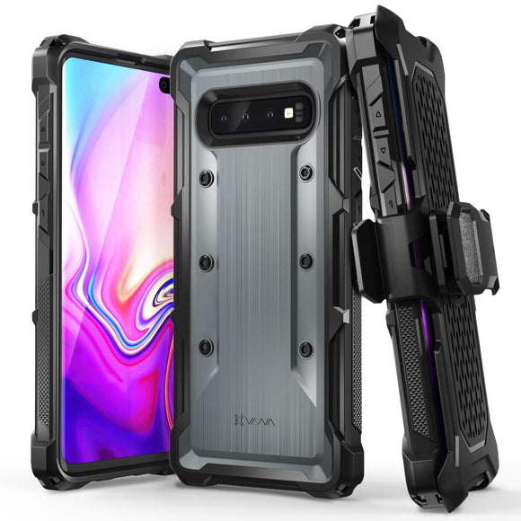 Vena Galaxy S10 Plus Holster Case, [vArmor] Rugged Military Grade Heavy Duty Case with Belt Clip Swivel Holster and Kickstand, Compatible with Galaxy S10 Plus - Space Gray/Black