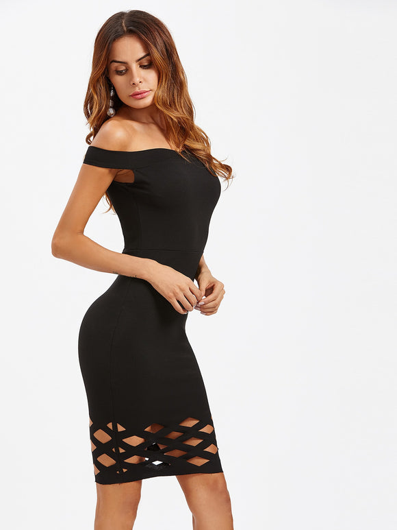 Laser Cut Hem Form Fitting Dress