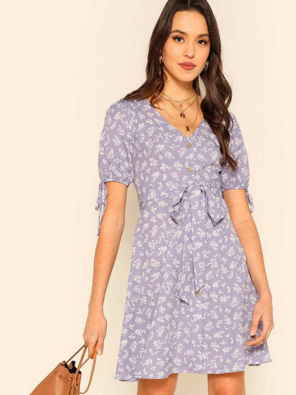 Button Through Floral Print Belted Dress