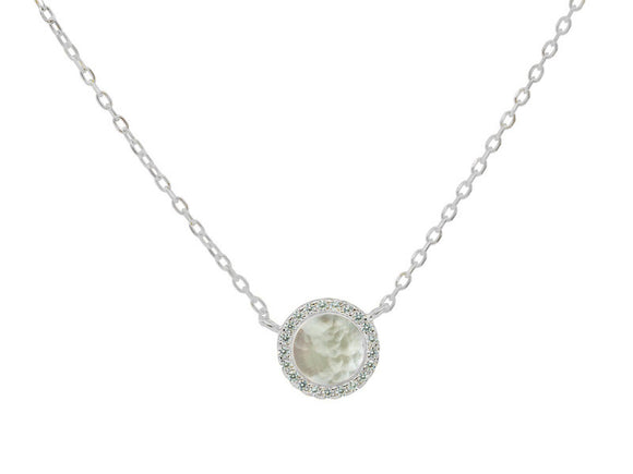 Circle Mother of Pearl Necklace in Sterling Silver