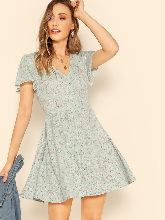 Button Front Ditsy Floral Tea Dress