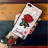 2017 High Quality Fashion Rose Coque Lace Transparent Phone Case with Strap for IPhone X 6 6S 7 8 Plus 5 5S SE Samsung Galaxy S8