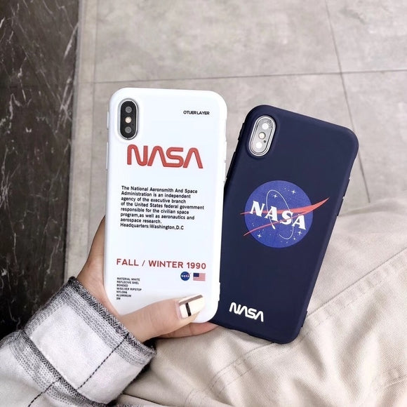 Fashion NASA American Astronaut Space Case for Iphone X XR XS MAX 7 8 6 S Plus White Soft Silicone Tpu Luxury Phone Cover Coque