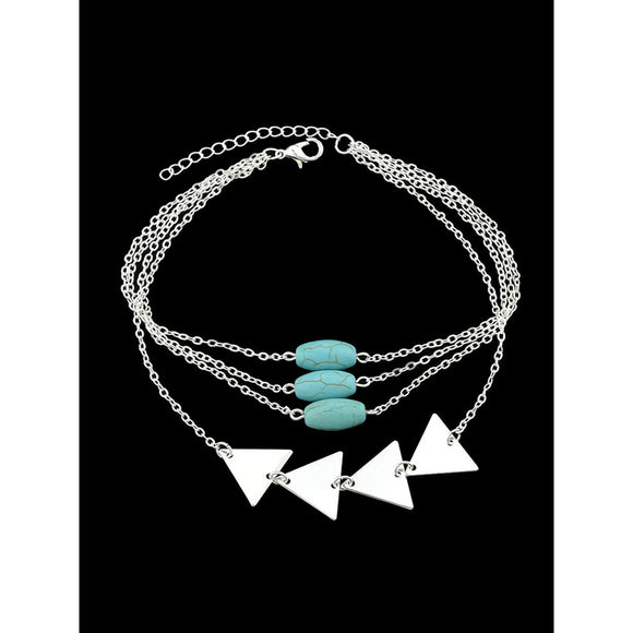 Silver Multi Layers Bangles Chain With Blue Beads Triangle Shape Arm Bracelets