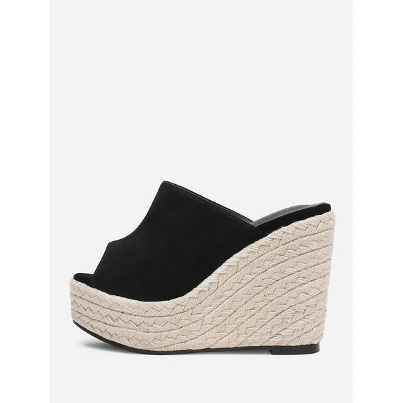 Espadrille Peep Toe Wedges