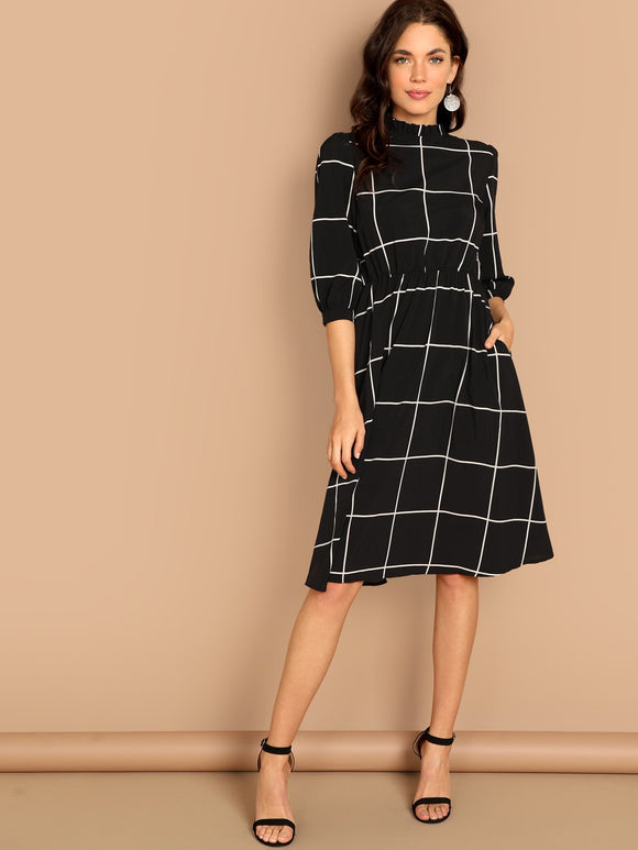 Frilled Neck Grid Flare Dress