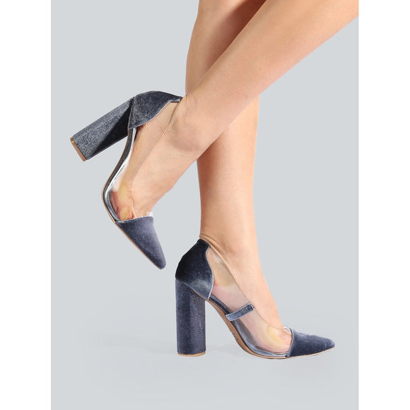 Clear Velvet Point Toe Pumps ICE BLUE