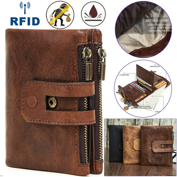 High-quality Vintage Genuine Leather Men Wallets RFID Card Holder Male Wallet Multi-Functional Cowhide Coin Purse Genuine Leat