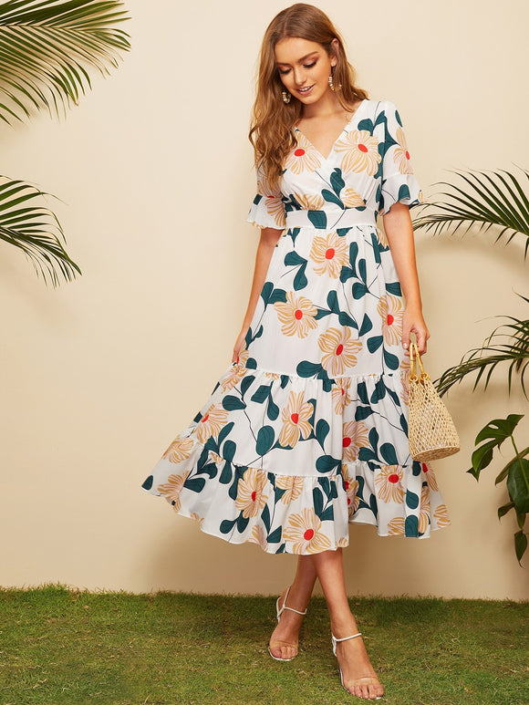 Surplice Floral Print Ruffle Hem Dress
