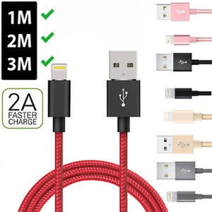 2018 Heavy Duty Metal Braided Lightning USB Charger Cable 1M 2M 3M for IPhone X 7 6 5