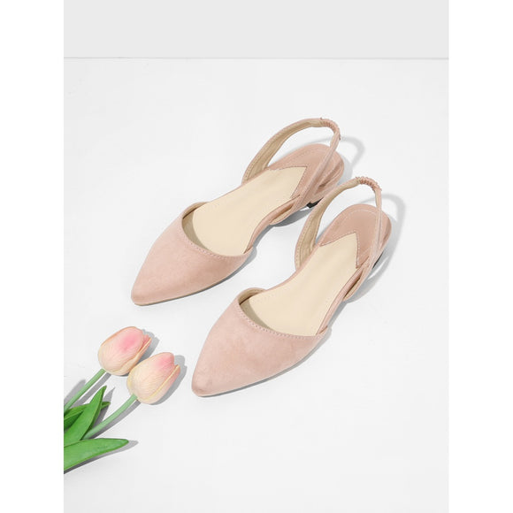 Pointed Toe Suede Slingback Flats