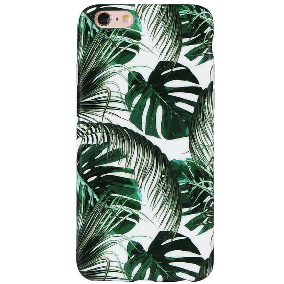 DICHEER iPhone 6 Case,iPhone 6s Case,Cute Green Palm Leaves for Women Girls Slim Fit Thin Clear Bumper Glossy TPU Soft Rubber Silicon Cover Best Protective Phone Case for iPhone 6/iPhone 6s