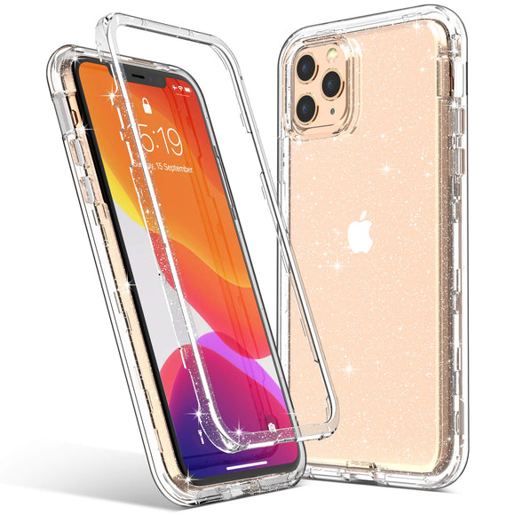 ULAK iPhone 11 Pro Case, Stylish Clear Glitter Protective Heavy Duty Shockproof Rugged Protection Case Transparent Soft TPU Bumper Phone Cover for Apple iPhone 11 Pro 5.8 inch (2019), Clear Glitter
