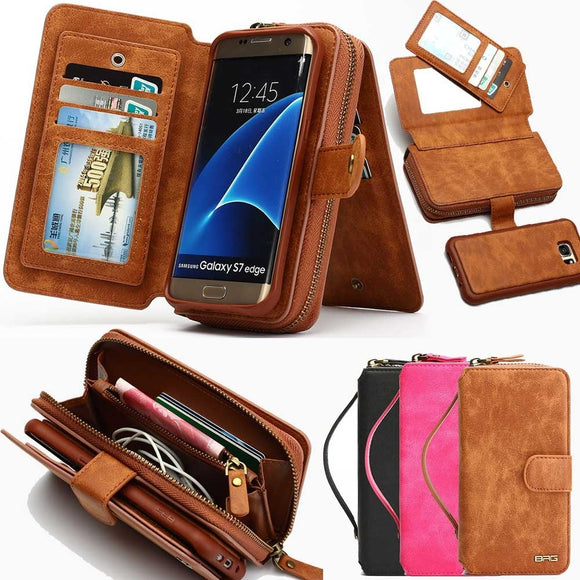 Black/Brown/Rose Red Magnetic Zipper Detachable Flip Leather Wallet Case Cover Built-in Card Slots Handbag Pouch For IPhone/5/5s