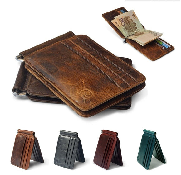 Men s Classic Leather Wallet Cash Credit Card Holder Purse with Money Clip