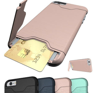 2018 NEW Shockproof Dual Layer Card Slot Holder Hybrid Case Cover With Kickstand For Iphone 6/6s/7/8/X Plus
