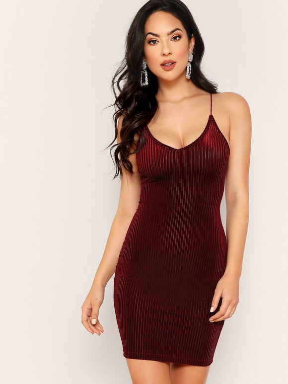 Lace Up Back Velvet Rib Cami Dress