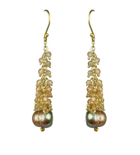 Peach CZ Cluster Champagne Pearl Earrings