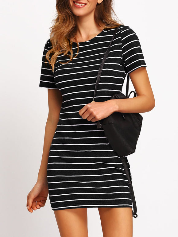 Striped Fitted Tee Dress