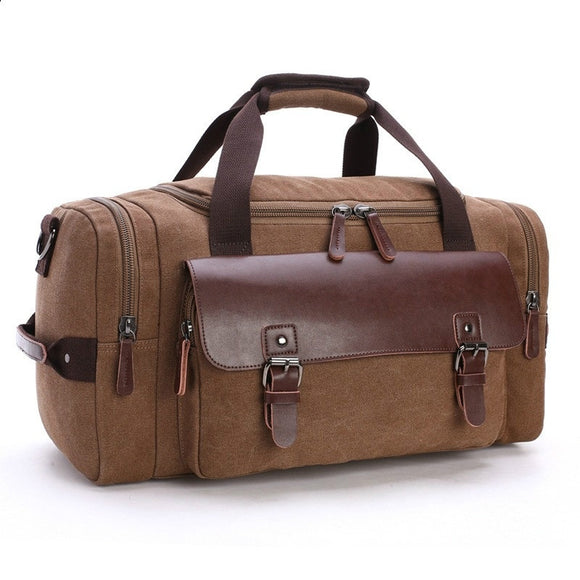 Vintage Canvas& Leather Travel Tote Luggage Bag Weekend Bag Shoulder Handbag Large Capacity