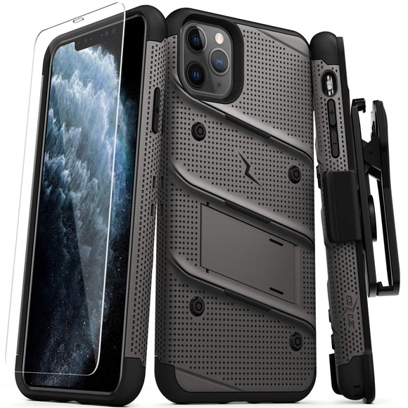 ZIZO Bolt Series iPhone 11 Pro Case - Heavy-Duty Military-Grade Drop Protection w/Kickstand Included Belt Clip Holster Tempered Glass Lanyard - Gun Metal Gray