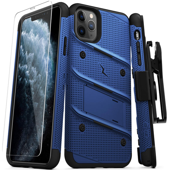 ZIZO Bolt Series iPhone 11 Pro Case - Heavy-Duty Military-Grade Drop Protection w/Kickstand Included Belt Clip Holster Tempered Glass Lanyard - Blue
