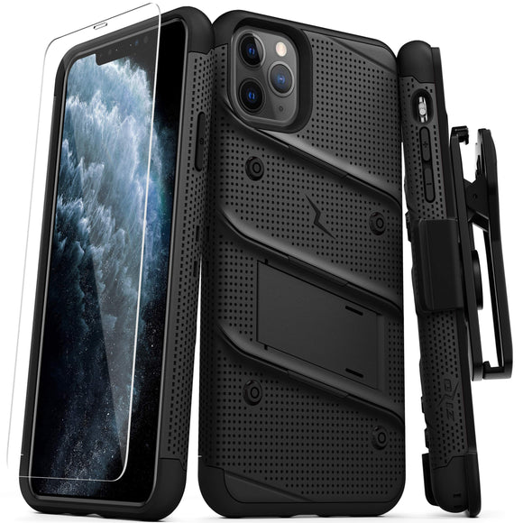 ZIZO Bolt Series iPhone 11 Pro Case - Heavy-Duty Military-Grade Drop Protection w/Kickstand Included Belt Clip Holster Tempered Glass Lanyard - Black