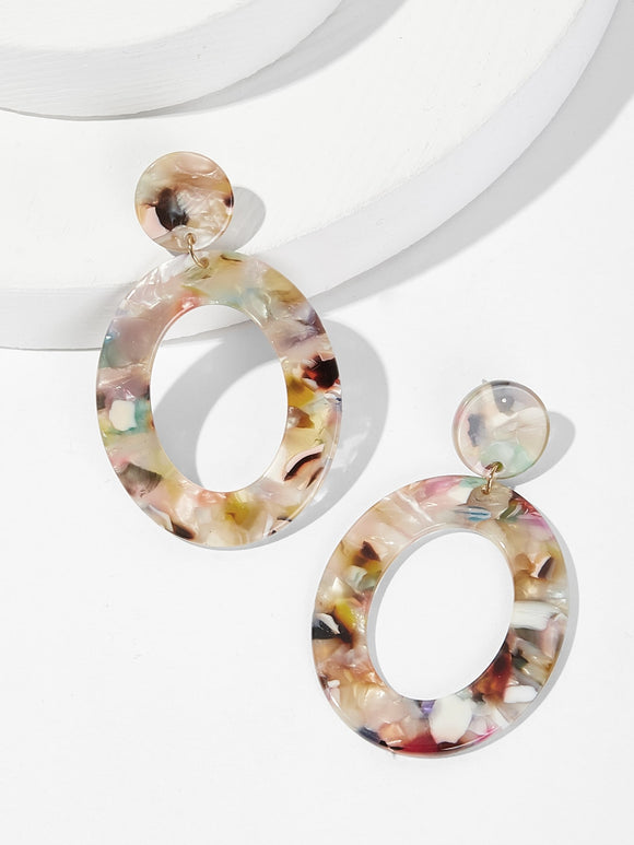Marble Pattern Hoop Drop Earrings 1pair