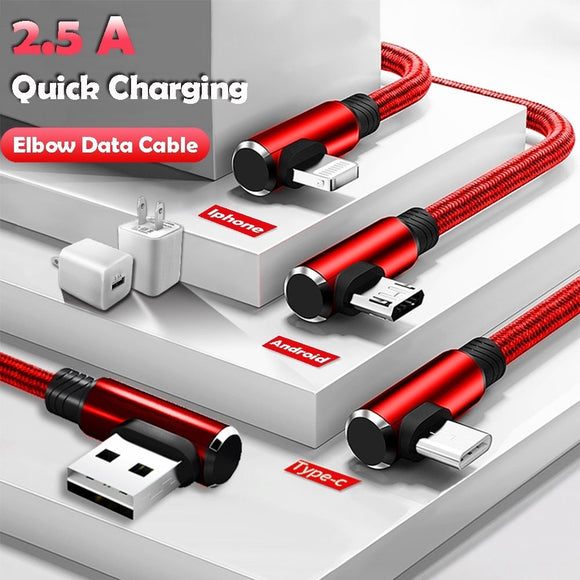 New Micro USB Data Sync Cable fast Charging Cable 90 Degree Right Angle for Iphone X 8 7 7s 7Plus 6 6s 5 5s 4 Samsung Andorid Ty