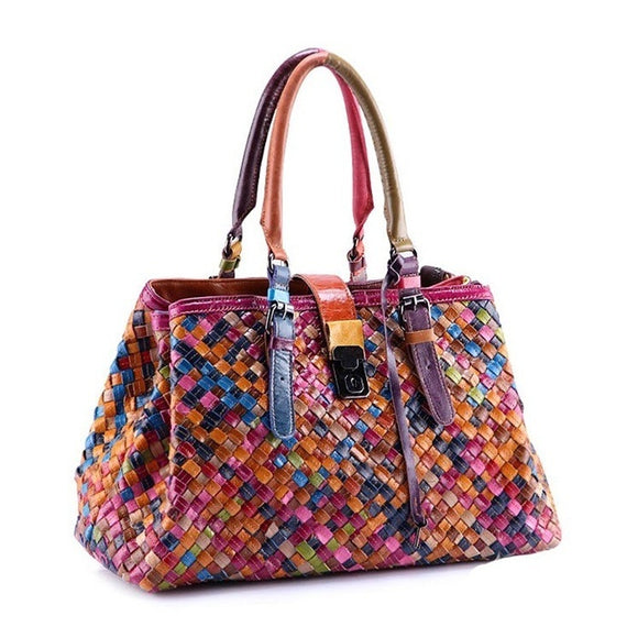 2015 New Fashion Multicolour Genuine Leather Bags Weave Handbags Women's Shoulder Bag Messenger Bag colorful handbag female
