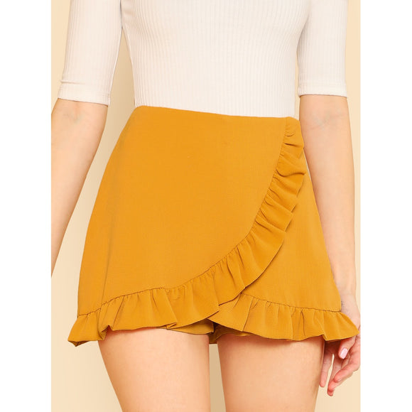 Ruffle Trim Overlap Mini Shorts 2018 Summer Ginger Zipper Fly Elegant Skirt Shorts Mid Waist Zipper Plain Women Shorts