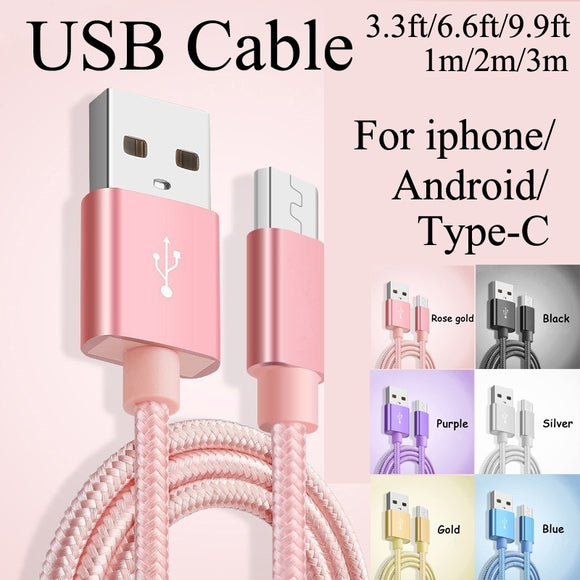 Nylon USB Cable Creative Faster Charger Data Sync USB Cable for iPhone/Sumsumg/Android/Type-C 1M/2M/3M