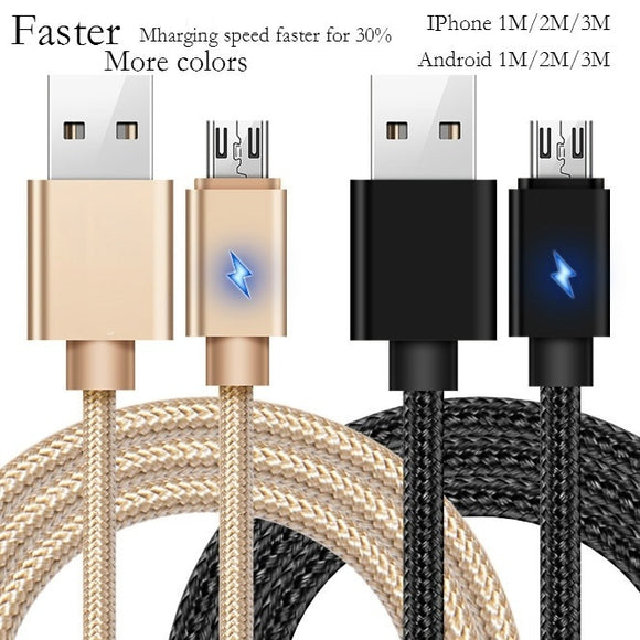 3.3ft 6.6ft 9.9ft Nylon Braided Micro USB Cable Creative Charger Data Sync USB Cable Cord for iPhone/Android 1m 2m 3m Samsung iP