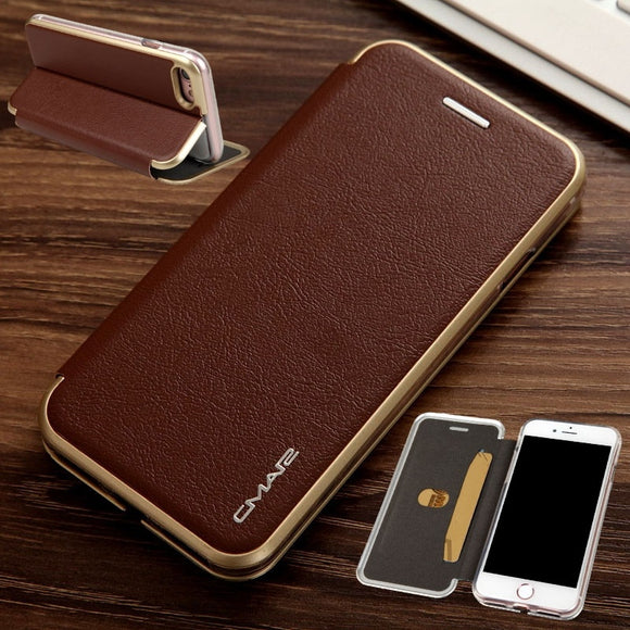 Luxury Magnetic Flip Stand with Card Slot Phone Protective Case Cover for iPhone 6 7 8 Plus X Samsung Galaxy S7 S7 Edge S8 S8 Pl