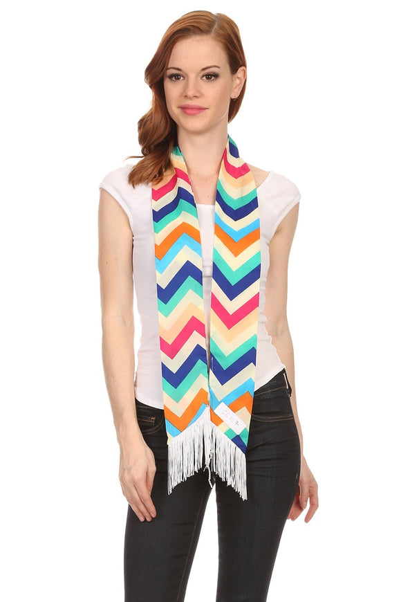 Ladies Chevron Multicolor Skinny Scarf with Fringe