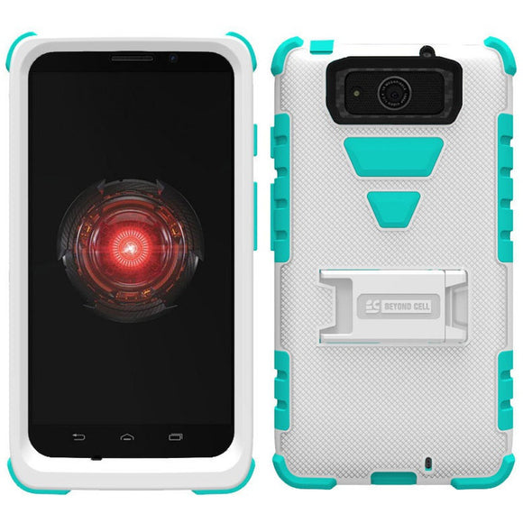 WHITE TURQUOISE TRI-SHIELD SKIN HARD CASE STAND FOR MOTOROLA DROID MAXX / ULTRA