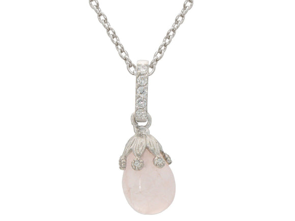 Rose Quartz Flower Bulb Necklace