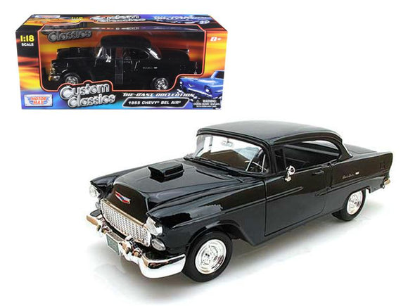 1955 Chevrolet Bel Air Hard Top Black Custom 1-18 Diecast Model Car by Motormax