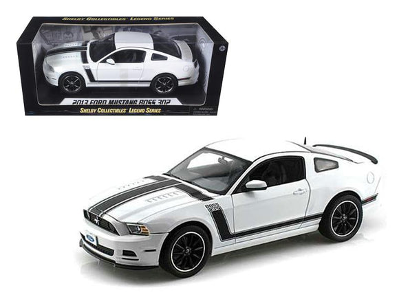 2013 Ford Mustang Boss 302 White 1-18 Diecast Car Model by Shelby Collectibles