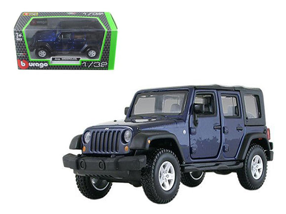 Jeep Wrangler Unlimited Rubicon 4 Doors Blue 1-32 Diecast Model Car by Bburago