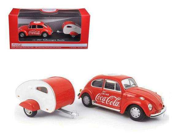 1967 Volkswagen Beetle Coca Cola with Teardrop Trailer 1-43 Diecast Model Car by Motorcity Classics