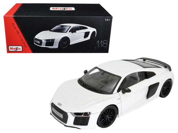 Audi R8 V10 Plus White Exclusive Edition 1-18 Diecast Model Car by Maisto