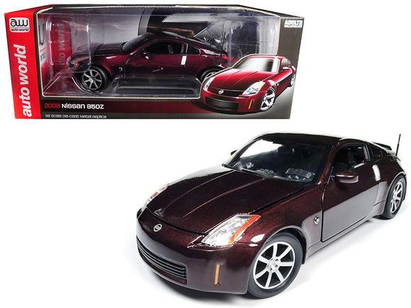 2003 Nissan 350Z Coupe Brickyard Red Metallic Limited Edition to 1002 pieces Worldwide 1-18 Diecast Model Car by Autoworld