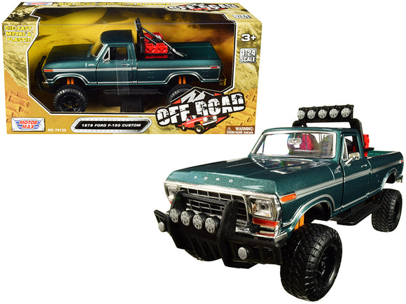 1979 Ford F-150 Custom Pickup Truck Off Road Green 1-24 Diecast Model by Motormax
