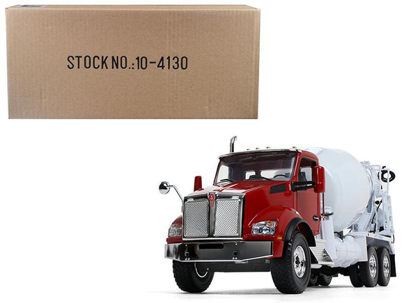 Kenworth T880 with McNeilus Standard Mixer Red Cab- White Body 1-34 Diecast Model by First Gear